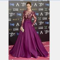 Wholesale Elegant Lace Evening Dresses Crew Neckline Lace Long Transparent Sleeve A Line Satin Purple Floor Length Prom Dresses