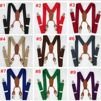 Wholesale BD027 cm clips on Leather Suspenders for baby colors adjustable elastic braces Kids Accessories