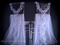 beaded chair covers - 2015 C30 Chair Sash for Weddings Applique Beaded Tulle Wedding Decorations Chair Covers Chair Sashes Wedding Accessories