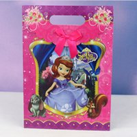 bamboo recycling - Hot Christmas D cartoon loot bags minions Frozen Elsa Anna pig paper gifts bag Sofia snow white princess The Avengers gifts boxes package