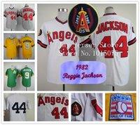 Baseball baseball career - Reggie Jackson Jersey Of Career Los Angeles Angels Oakland Athletics NYK Jerseys White Yellow Green Grey
