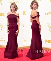 award fabric - Charming th Emmy Awards Celebrity Dresses Red Carpet Formal Evening Gowns With Sheath Off Shoulder Floor Length Satin Fabric