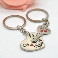 Wholesale Hot Sale New Couple I LOVE YOU Heart Keychain Ring Keyring Key Chain Lover Romantic Creative Birthday Gift New FMPJ068
