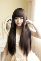 beautiful remy hair - Stylish Charming Ladies Wigs Long Hair with Bang Synthetic Sexy Wig Womens Long Fashion Natural Straight Wig Party Beautiful Wigs free cap