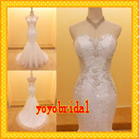 Wholesale 2016 Sexy Mermaid Wedding Dresses Bling Crystal Beaded Sweetheart Sequin Real Photo Court Trian Cheap Long Bridal Wedding Gowns Dress Custom