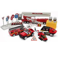 Wholesale Mini Fire Rescue Engine Truck Helicopter Alloy Diecast Model Child Toy Car Set Type B