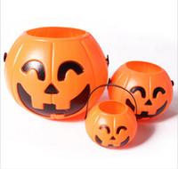 achat en gros de halloween lanterne sacs-7 * 6cm Mignon décoration d'Halloween Props Visage Sourire citrouille Sucrerie Sacs Commander LED Lantern Artisanat Ornement livraison gratuite