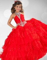 Wholesale Red High Neck Girl s Pageant Dresses Crystals Chiffon Little Flowers Formal Backless Kids Prom Dresses Glitz Pageant Dresses