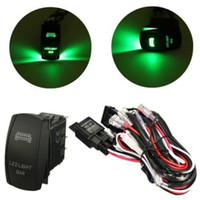 Wholesale 12V A W Relay Fuse Wiring Harness LED Light Bar Laser Rocker Switch Green yy080