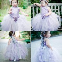 Cheap 2015 Adorable light purple tulles flower girls' dresses cute halter sleeveless backless ankle length princess ball gowns for little kid