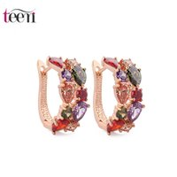 Wholesale Teemi Classic Hot Fashion18k Champagne Rose Gold Plated Multicolor CZ Mona Lisa Cluster Clip Cuff Earrings For Sexy Women