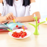 Wholesale Party Home Decor Bird Fruit Snack Dessert Forks Tool Tree Shape Holder Rack New