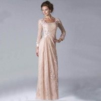 Cheap 2015 Sexy Chiffon Lace Evening Muslim Dresses Long Sleeves Prom Gowns Plus Size Beaded Mother Of The Bride Dresses Mother's Formal Wear w034