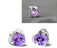Wholesale Hot New Women Sterling Silver Earring Stud Purple Crystal Heart Shape silver Stud Earrings Silver Jewelry Wedding Party ML