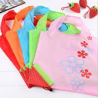 strawberry folding shopping bag - Nylon Portable Creative Strawberry Foldable Shopping Bags Reusable Environmental Protection Pouch Eco Friendly Shopping Bags Tote Bags