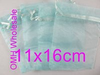 Wholesale OMH x16cm sky blue color Jewelry festival wedding Christmas voile organza Packaging gift bags BZ09