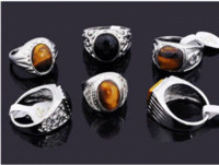 Cheap Wholesale Lots 25pcs Black Stone Tiger Eye Platinum p Men Jewelry Rings [MR17*25] ring backup ring hematite