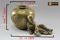 antique chinese jars - T Chinese Classical Figure Sculpture the Poetic Genius Libai Copper Pot Brass Wine Jar metal carving sculpture handmade decoration ornam