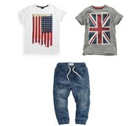 american flag t shirt - Retail Summer Boys clothing set with Brithish and American Flag baby suit set t shirts pants kids clothing