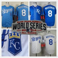 baby mike - 30 Teams New Mike Moustakas Jersey World Serise Patch White baby blue Kansas City Royals Jerseys Cool Base