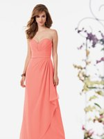 Cheap Cheap Pleated Coral Bridesmaid Dresses A-Line Sweetheart Neckline Sleeveless Chiffon Floor Length Long Prom Dress