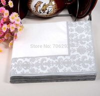 Wholesale 330MMX330MM colored facial tissue paper napkin paper printing handkerchiefs for wedding birthday favors gift with Gray classical