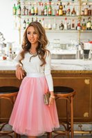 pleated skirt - Knee LengthTyered Adult Tutu Tulle Skirts Puffy Party Mesh Skirts Pink A Line Girl Bust Pleated Ski