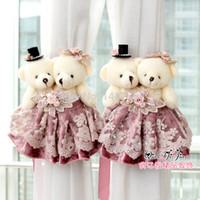 Wholesale Cute bear design curtain buckle curtain strap curtain clip with ribbon pairs