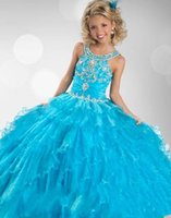 Wholesale 2015 New Hot Girls Pageant Dresses Blue Tulle Jewel Neck Crystal Beades Tiered Long Ball Gown Size Party Children Flower Girl Gowns