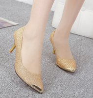 Wholesale Whole Sale New Woman Dress Shoes Golden Glitter Shining Shoes for Evening party Christmas Gift Wedding Bridesmaid Shoes