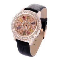 advertise fashion - Creative Flowers of Luxury Watches Diamond Women s Watch Diamond Fashion Party Leather Strap For Birthday Advertising Promotions Gifts TY889