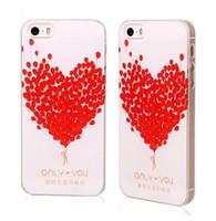 La cubierta del patrón en forma de corazón rojo del amor del rosa de plástico duro de caja del teléfono móvil para el iPhone 4 4S 5 5S 5C 6 6 Plus