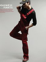 Wholesale 100 Cotton Fashion Casual Work Men Jumpsuit Overalls Loose Straight Long Pants Black Red Bib Overalls For Men