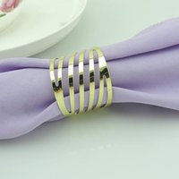 Wholesale 500pcs Hollow Metal Stripe Napkin Rings Serviette Tablewear Wrapper Holders Hotel Restaurant Bar Table Decoration wa153j