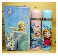 Wholesale Cartoon Water Bottles Frozen Vacuum Cup Transformers Elsa Anna Stainless Steel Vacuum Cup Portable Warm Keeping Kettle Frozen Gifts m0920