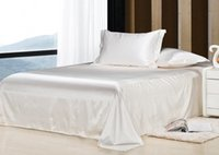 Wholesale 7pcs Luxury White bedding set satin silk sheets California king queen full twin size quilt duvet cover bedsheet fitted bed in a bag linen