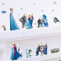 Wholesale 2015 Frozen Wall Stickers Cartoon Wall Stickers FROZEN Queen Elsa Anna Wall Stickers Decal Removable Kids Decor bedRoom Mural Art