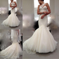 Cheap White Ivory Wedding Dresses Mermaid Style Berta Bridal Sheer One Shoulder Sweetheart Ruched Bodice Court Trains Sexy Wedding Dress