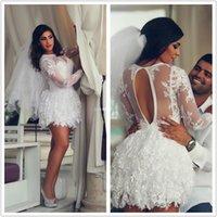 sexy mini wedding dress - Amazing Spring White Applique long sleeve sexy Vintage Lace short Wedding Dresses Mini A Line Short Bridal with short wedding Dress