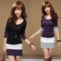 Wholesale 1129 women new style fashion color block o neck long sleeve dress spring autumn dresses plus size XL cotton colors