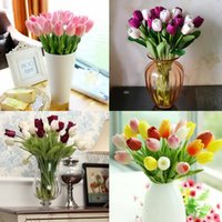 artificial red tulips - 5Pcs Latex Real Touch Tulip Artificial Flower Bouquet for Wedding Party Home Decoration Products GYH YJX