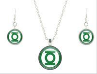 asian lanterns wedding - Green lantern S925 silver glass jewelry set vintage glass necklace friendship pendant drop earrings bijoux jewelry CS49