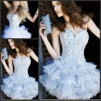 Wholesale HY Shinning Sweetheart Mini Prom Dresses Backless Beaded Crystals Corset Tiered Short Homecoming Dress Cocktail Dress For Party
