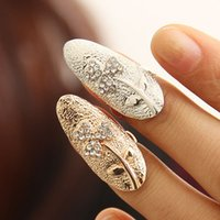 asian american arts - 2015 New Stylish Trendy Exquisite Cute Retro Sweet Women Rings Three Leaves Crystal Finger Nail Art Rings Women