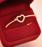 Wholesale Women Girls Gold Crystal Bracelet Love Heart Charm Bangle Cuff Jewelry Gifts