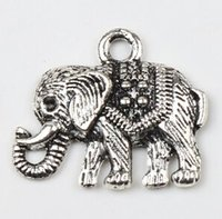 elephant charms - New MIC Antiqued Silver Single sided Elephant Alloy Metal Charms Pendants X19mm Jewelry DIY Jewelry Findings Components