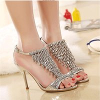 Wedding Pumps Medium(B,M) Gorgeous 2016 Gold Silver Summer Wedding Bride Shoes 9.5cm High-heeled Crystal Prom Evening Party Wedding Bridal Shoes