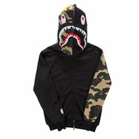 Wholesale Bape shark Fall and winter clothes for men and women camo sleeve in camouflage leopard shark lovers hooded fleece jacket