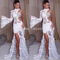 Wholesale Elegant New Arrival High Neck Lace White Prom Dresses Formal Evening Party Gowns Long Custom made Beaded Rhinestones