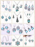 cloisonne earrings - hot mix order sets Tibetan silver turquoise necklace pandent earring set antique silver jewelry set for women DFMGS C